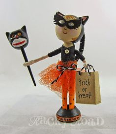 Halloween Peg Doll Trick or Treater: Cat costume