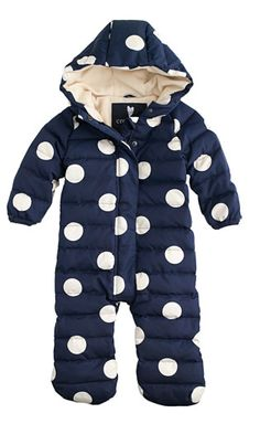 Polka Dot Baby Puffer Snow Suit- for when you guys visit Idaho of course. Fashion Mode, Kids Fashion, Babies Fashion, Cute Kids, Cute Babies, Baby Boys, Bebe Love, Baby Overall, Little Doll