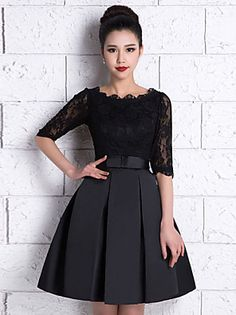 Knee-length Lace / Satin Bridesmaid Dress A-line Scoop with Lace / Sash / Ribbon