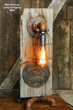 Steampunk Industrial Lamp, Barn Wood Re-Claimed John Deere Farm- #260 - SOLD
