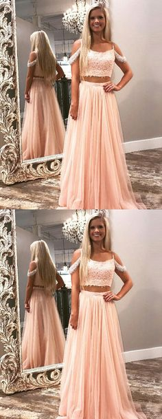 modest two piece pink long prom dresses, unique cold shoulder party dresses with beading, elegant evening gowns with appliques