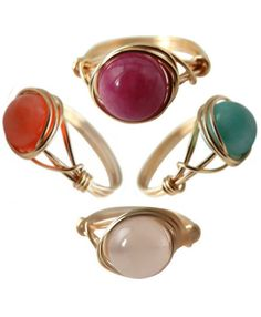 14kt Gold-Filled Wire Wrapped Gemstone Rings ღ $15