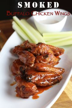 The best method for Smoked Buffalo Chicken Wings with crispy skin. Learn the secret to getting crispy skin when cooking wings low and slow (without frying! Grilled Chicken Recipes, Chicken Wing Recipes, Spicy Recipes, Baked Chicken, Chicken Dips, Thai Chicken, Rib Recipes, Smoked Wings, Smoked Chicken Wings