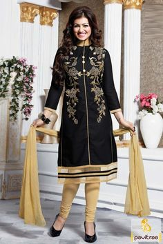 #Aayesha Takia, #Black and Cream, #Chiffon, #Cotton, #Embroidery Suit, #Gracefull, #Fashionable, #Embroidery Work, #Sangeet, #Wedding, #Mahendi, #Party.