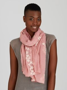Floral Embroidered Scarf Mid Pink