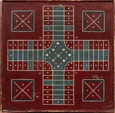 Painted Two-sided Parcheesi and Checkers Game Board Game Boards, Board Games, Commonwealth Of Massachusetts, Lots For Sale, Make Arrangements, Game Art, Quilting, Auction, Traditional