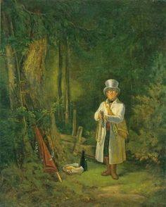 Carl Spitzweg (German, The Sunday Hunter, 1848 © Staatsgalerie Stuttgart Carl Spitzweg, Emily Dickinson, Antique Paint, A 17, State Art, Art Techniques, Figurative Art, Find Art, Framed Artwork