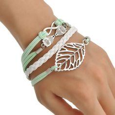 1 Bracelet Bijoux Mode Infini Hibou Chouette Feuille Multi Rangs 17cm | eBay