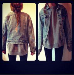 Jean jacket, baggy sweater, leggings