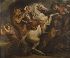LION HUNT (1819) by James Northcote (1746-1831) from the North Gallery at Petworth (Dec 1992)
