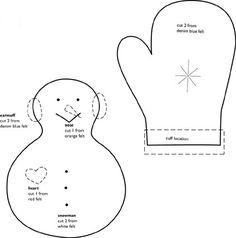 Plantilla para hacer un muñeco de nieve y guantes en fieltro como adorno en Navidad