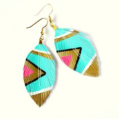 Itty Bitty Neon Aztec - 2.5 inch - Faux Leather Feather Earrings - Assorted Colors Available - SALE -  Free Shipping