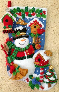 MerryStockings offers a wide variety of Christmas stocking kits inclusive of: Felt Applique' from Bucilla, Cross Stitch and Needlepoint from Dimensions as well as felt kits from Dimensions. Christmas Stocking Kits, Felt Christmas Stockings, Stocking Tree, Felt Christmas Ornaments, Christmas Snowman, Handmade Christmas, Christmas Decorations, Felt Stocking, Christmas Embroidery