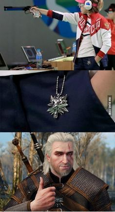 Russian shooter with Witcher Pendant and Eye Cover ~ Won Silver - Geralt Approved!