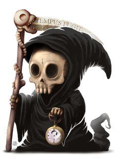 Cute little grim reaper. Grim Reaper Art, Don't Fear The Reaper, Grim Reaper Cartoon, Arte Horror, Horror Art, Dark Fantasy, Fantasy Art, Chibi, Creepy Cute