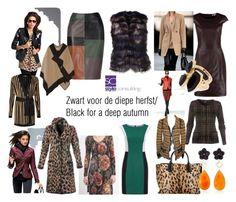 """""""Zwart voor een diepe herfst? Black for a deep autumn."""" by roorda on Polyvore featuring mode, River Island, Balmain, Bahina, Burberry en Oscar de la Renta"""