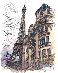 3,950 отметок «Нравится», 93 комментариев — watercolor@horiaki2 (@horiaki2) в Instagram: «パリ・エッフェル塔 -- The Eiffel Tower , Paris ✳️How to draw & paintPlease visit my website(→Profile)…»
