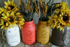 larger mason rustic-(see directions on smaller jar pic Mason Jar Projects, Mason Jar Crafts, Mason Jar Diy, Diy Jars, Rustic Mason Jars, Painted Mason Jars, Vases Decor, Fall Diy, Craft Gifts