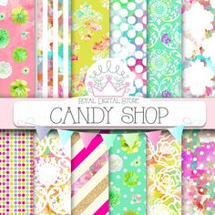 """Candy digital paper: """"CANDY SHOP"""" with party background, damask, rainbow patterns, polka dots, stripes for scrapbooking, cards, invitations #rainbow #planner #partysupplies #damask #pink #mint #yellow #glitter #floral #digitalpaper #scrapbookpaper #shabbychic #wedding"""