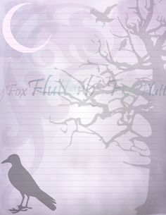 Haunted Forest, Writing Paper, Printable Paper, Journal Pages, Your Image, Crow, Raven, Printables, Lettering