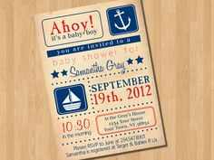 Ahoy Vintage Nautical Baby Boy Shower Invitation