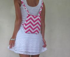 small pink chevron backpack with zipper closure and by SmiLeStyles #etsy #chevron #backpack #pink