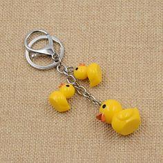 Amazon.com: Cute Cartoon 3 Swimming Duck Keychain Alloy Lobster Clasp Kawaii Yellow Keyring 1 Pc: Clothing