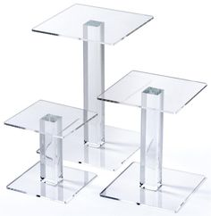 Square Acrylic Risers, Set of 3 Sizes - Clear