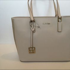 NWT Tan Tote with Gold Accents NWT Calvin Klein Bags Totes