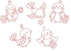 5 bird Embroidery Designs