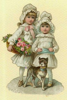 Girls with basket of roses & a small dog Vintage Labels, Vintage Ephemera, Vintage Paper, Vintage Postcards, Victorian Pictures, Vintage Pictures, Vintage Images, Vintage Dog, Vintage Children