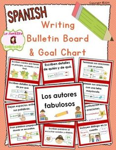 Spanish Writing Goals Bulletin Board / Clip Chart: Give students a push in their writing with these developmental writing goals! $