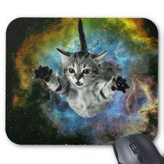 Galaxy Cat Supernova Kitten Launch Mousepads