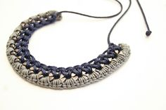 petit crochet collier dark blue shiny grey gunmetal by gudbling