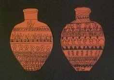 Greek pottery designs- using geometric/organic shape ordered patterns