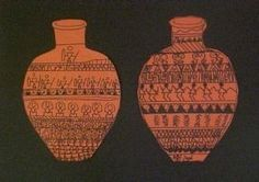 Greek pottery designs- using geometric/organic shape ordered patterns