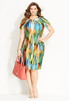 Twisted Print Sheath Dress | Plus Size Dresses | Avenue
