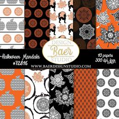 """Black and orange madela digital papers to use for creating fall paper decorations and fall crafts.  These are instant download digital papers so you just have to hit the """"visit"""" button to purchase, download within minutes onto your device and then print at home or send to Staples, etc. to print. You can use these images over and over again for all sorts of projects for yeart to come!"""