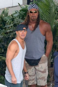 True bromance: Kevin towered over Channing as the two hung out on set together during film...