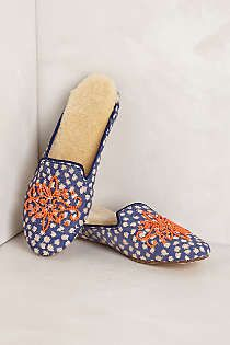 Anthropologie - Beaded Smoking Slippers