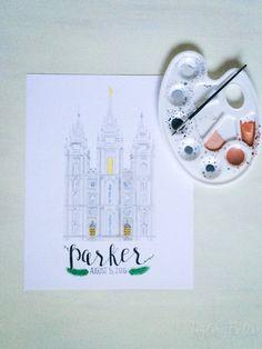 Salt Lake City Utah LDS Temple Watercolor Print || custom || personalized || anniversary || wedding || gift || wall decor || art || mormon by…