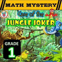 Fun Math Review Mystery Activity - Case of The Jungle Joker. Engage and motivate your Grade 1 students while they use a variety of math skills in these NO PREP worksheets to help solve a crime!There are FIVE clues to crack to solve who the Jungle Joker is:Clue 1  - Add/Subtract 10Clue 2 - Adding Single digit numbers to Double digit numbers (no regrouping)Clue 3 - Subtraction with Single Digits and Teens (no regrouping)Clue 4 - Missing Addends (Single Digits and Teen Numbers)Clue 5 - Double…