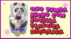 BOTELLA DE PLASTICO RECICLADA HECHA EN FORMA DE UN OSO PANDA, MANUALIDAD...