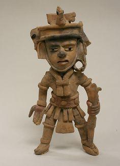 Ceramic Standing Warrior, 6th–9th century, Veracruz, Mexico, Mesoamerica, Veracruz Remojadas Culture.