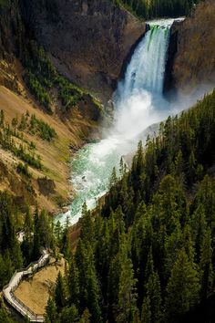 Water Falls in Yellowstone National Park, Wyoming United States