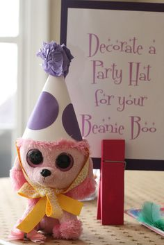 Beanie Boo birthday party- Have party guests brings their own beanie boo and then decorate party hats as an activity. Description from pinterest.com. I searched for this on bing.com/images