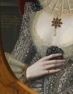 Robert Peake the Elder. Detail from Portrait of a Woman, Possibly Frances Cotton, Lady Montagu, of Boughton Castle, Northamptonshire, 1616.
