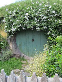 Green Hobbit Door, Hobbiton, New Zealand, Lisa Berry ...would be fun to put in the garden