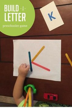 Is your preschooler ready to learn letters? Try this fun build a letter game for hands-on learning at it's best! Simple, no-prep game for preschoolers! Preschool Letters, Preschool At Home, Learning Letters, Preschool Lessons, Preschool Learning, Toddler Preschool, Toddler Activities, Learning Activities, Preschool Activities