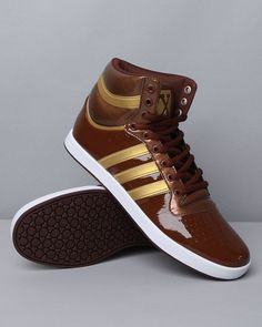 Chocolate and Gold Patent Leather Top 10's